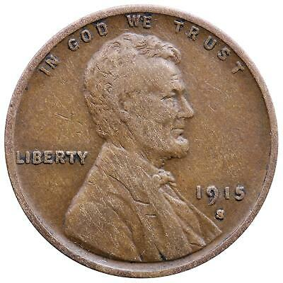 1915 S Lincoln Wheat Cent Very Fine Penny VF