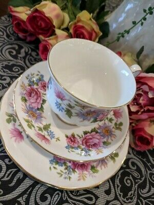 Tea Cup Trio Serenade Queen Anne China made in England Pink Purple Blue Gold
