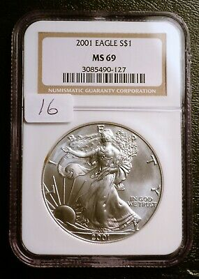 2001 Silver $1 ASE American Eagle NGC MS69 $52 VALUE (#16) Blast White Luster