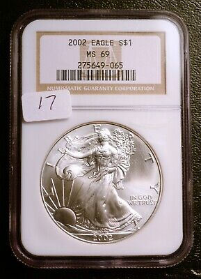 2002 Silver $1 ASE American Eagle NGC MS69 $42 VALUE (#17) Blast White Luster
