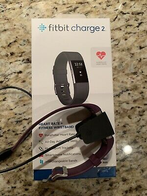 Fitbit Charge 2 Heart Rate Fitness - Small Plum Wristband With Charger.