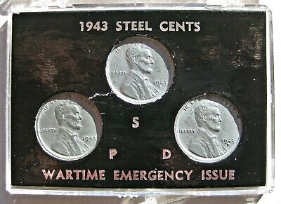 U.S. 1943-PDS WARTIME LINCOLN CENT SET IN CASE (KM# 90a)