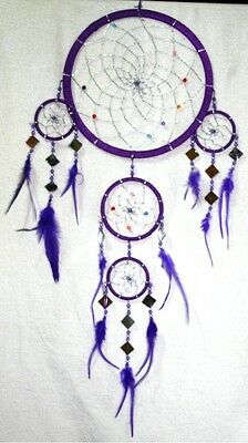 Native American Dreamcatcher Large Size Purple With Mirrors Dc418 Silver Webbing