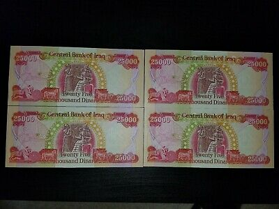 100,000 Iraqi Dinar Iqd (4) 25,000 Notes Uncirculated Authentic