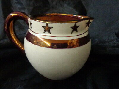 """Old Castle"" Creamer Luster-ware Gold Stars Made in England MC Estate"