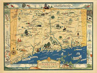 1937 Historical Map State of Connecticut Vintage Genealogy Family History Poster