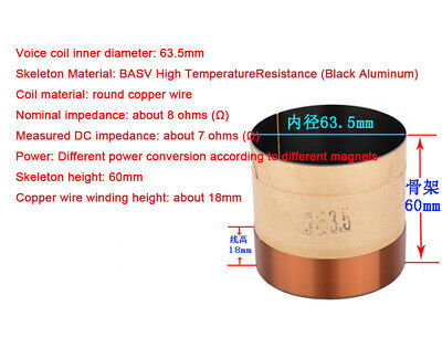 1x 63.5mm Core Bass Voice Coil 8Ohm BASV High Temperature Resistance for Woofer