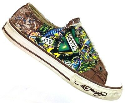 169d2a81d ED HARDY LOVE Kills Low Top Slip On Sneakers Laceless Shoes Women's ...