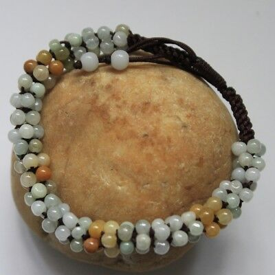 Genuine 100% Natural Type A Multi-Color JADE Jadeite Handmade Beaded Bracelet