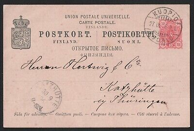 Finland 1896 Upu Post Card From Kuopio To Germany