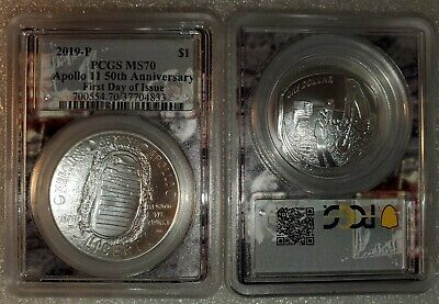 2019-P $1 Apollo 11 50th Anniversary Silver Dollar PCGS MS70 First Day of Issue