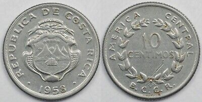 Coins 1921 Costa Rica 10 Centimos Lot#x8544