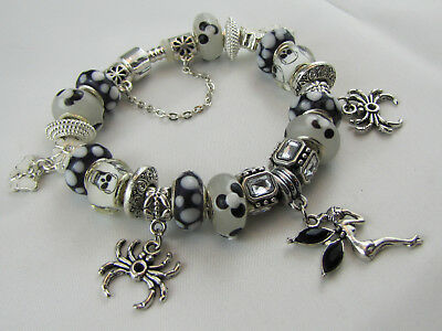 "925 SILVER STAMPED 20cm EUROPEAN STYLE GOTHIC CHARM BRACELET  ""PIXIE & SPIDERS"""