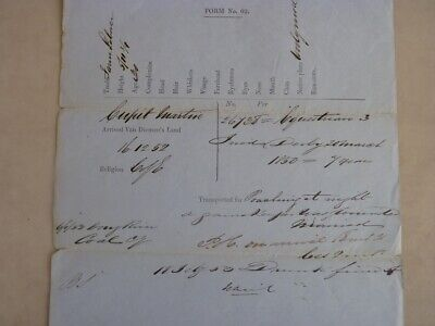 Original Convict Period Document-  Poaching - 7 Years Imprisonment  - Dated 1853