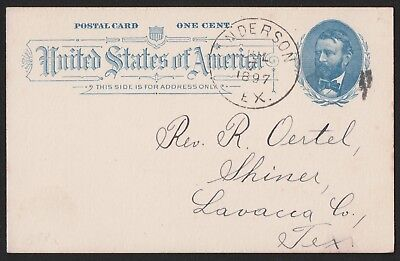 USA 1886 Postal Card From Anderson Texas To Shiner Lavaca County Texas  VF