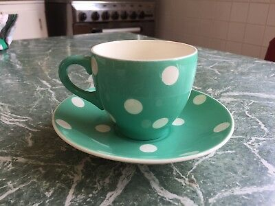 Green 1950's Vintage White Spotty Dots Empire England Cup & Saucer