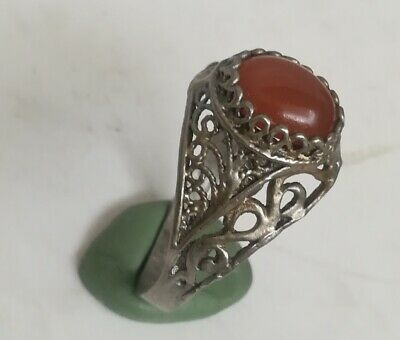 Amazing Ancient Sterling Silver Roman Ring With Natural  Stone Spiritual