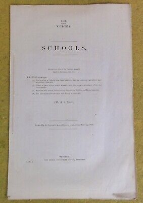 EARLY 1864 14p REPORT ON SCHOOLS IN VICTORIA.  ALL LISTED BY DENOMINATION !!