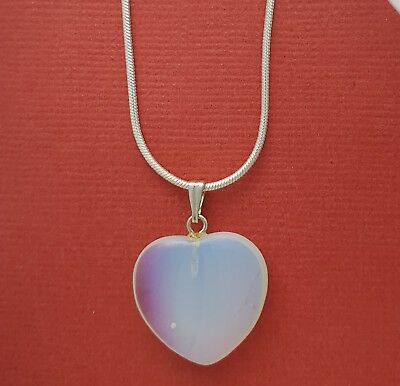 Opalite Necklace Heart Charm Pendant and Chain calming energy healing