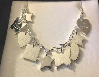 c2af570e3 $555 GUCCI Sterling 925 Dangle Star Butterfly Heart Sq Charm Necklace New  in Box