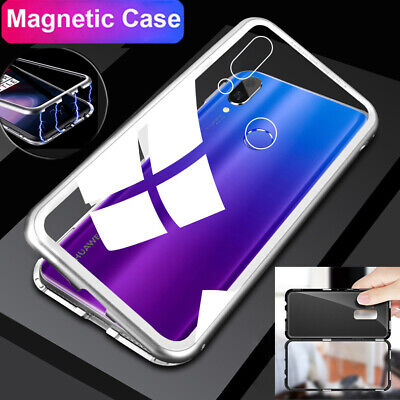 Magnetic Adsorption Metal Case For Huawei Nova 3i/3/3e New Tempered Glass Cover
