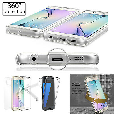 New Front + Back 360° Protective Bumper Clear Case Cover For Samsung J720 J320