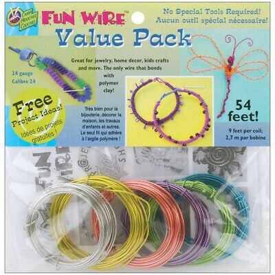Plastic Coated Fun Wire Value Pack 9' Coils-translucent - 24 Gauge, 6/pkg