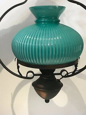 Antique Victorian Style Acanthus Duplex Wrought Iron Ceiling Light & Glass Shade