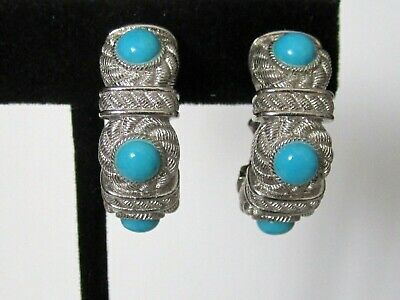 aeb6b33c0 Judith Ripka Sterling Silver Turquoise Cabochon Non-Pierced Clip Earrings -  NEW