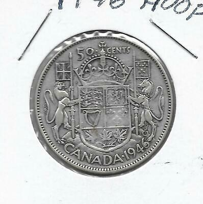 1946 Hoof Canadian 50 Cent Piece Silver (Very Nice)