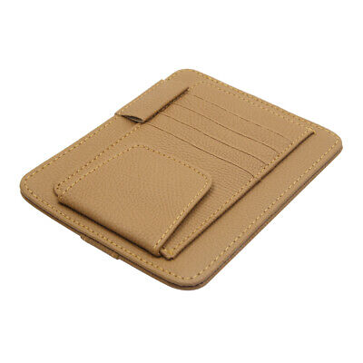 Faux Leather Beige Card Pen torage Holder Clip Pocket Organizer for Auto Car