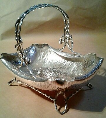 antique C. Dresser Hukin & Heath England silverplate handled basket aesthetic