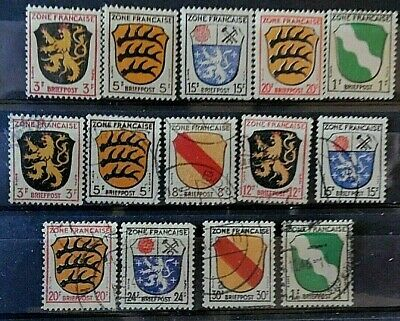 Germany, France Zone, Mint Hinged & Used Stamps x 14, from 1945, Onwards.
