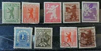 Germany, Stadt Berlin, Mint Hinged & Used Stamps x 9, from 1945, Onwards.