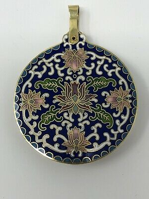 Antique Chinese Cloisonne Pendant With Magnifying Lense Swivel Ornate Flowers