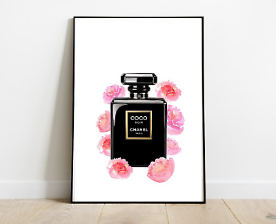 Chanel Perfume Bottle Print Art Black Flowers For Home Decor A4
