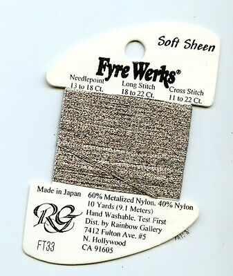 "Rainbow Gallery Fyre Werks Soft Sheen FT33 Moonglow 1/16"" metallic ribbon 10yds"