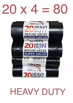 80 Heavy Duty Black Refuse Sacks Strong Thick Rubbish Bin Bags