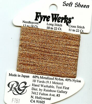 "Rainbow Gallery Fyre Werks Soft Sheen FT51 Copper 1/16"" metallic ribbon 10yds"