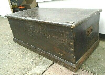 3' Antique Stained Pine Trunk Candle Box Coffee Table Toy Chest Craft Storage
