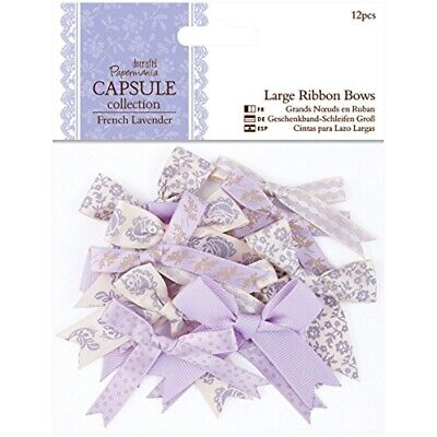 Papermania 12-piece Capsule Large Ribbon Bows, French Lavender