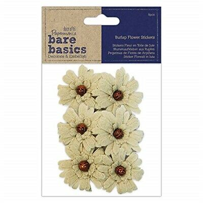 Burlap Flowers (6 Pieces) - Bead