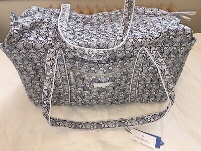 8057f18f9e Vera Bradley Iconic Quilted Cotton Large Travel Duffel Zip Bag Grey Owls  49L NWT