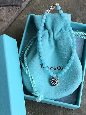66d8c24c3c27c TIFFANY & CO Mini 4mm Return to Tiffany Amazonite Bead Bracelet Silver 6.5""