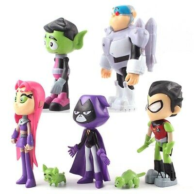 7Pcs Teen Titans Go Robin Cyborg Beast Boy Raven Starfire Action Figure Toy uk