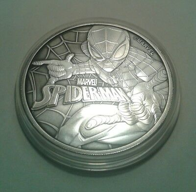 2017 Tuvalu marvel spiderman 1oz silver coin , awesome black toning .
