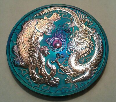 2018 Australia  Dragon & Tiger 1oz Silver Coin with Beautiful toning.* TONED **