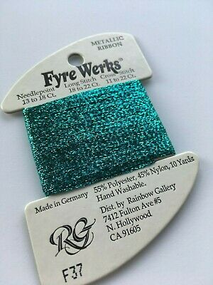 "Rainbow Gallery Fyre Werks F37 Aqua 1/16"" metallic ribbon 10yd"