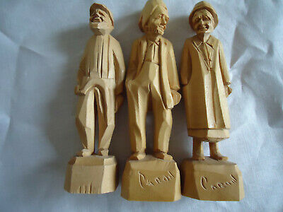 Three little hand carved vintage  folk art figures. French Canadian.