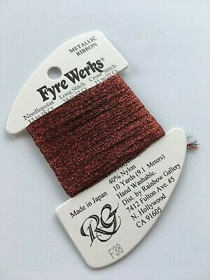 "Rainbow Gallery Fyre Werks F38 New Red 1/16"" metallic ribbon 10yd"